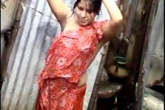 desi woman bath