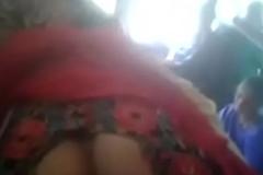 Boobs pressed in train