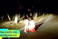 Pranya obtaining fucked on running road with Police Sirens behindhand