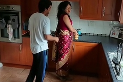 Red saree Bhabhi caught watching porn seduced and fucked apart from Devar dirty hindi audio desi chudai leaked scandal sextape bollywood POV Indian